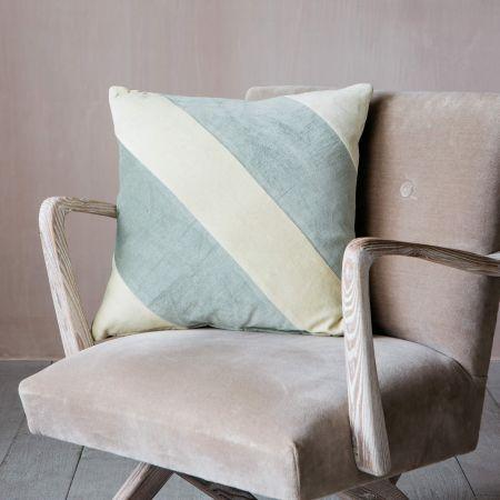 Lemon and Mint Striped Velvet Cushion