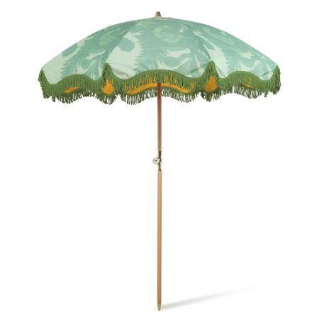 Green Floral Beach Umbrella