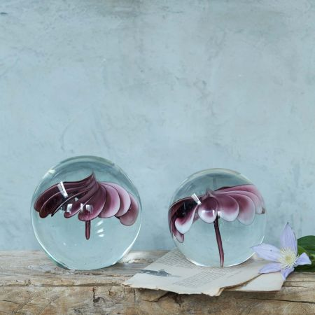 Purple Flower Glass Paperweights - Thumbnail