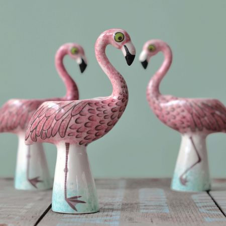 Ceramic Hand Painted Flamingo Egg Cup