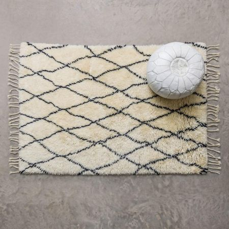 Small Black And Ivory Berber Rug