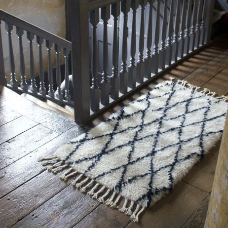 Extra Small Black And White Berber Rug