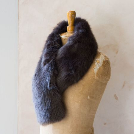 Steel Faux Fur Scarf