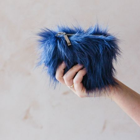 Blue Faux Fur Coin Purse