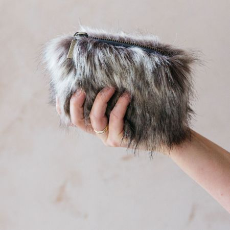 Grey Faux Fur Coin Purse