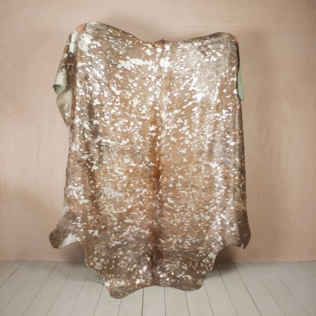 Brown and Silver Metallic Dappled Cowhide Rug