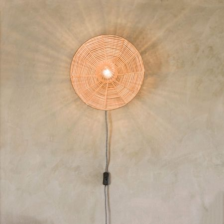 Round Cane Wall Light