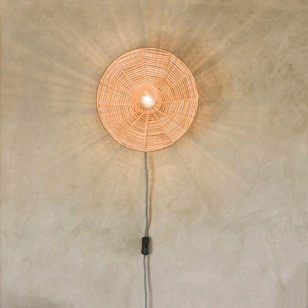 Round Cane Wall Light