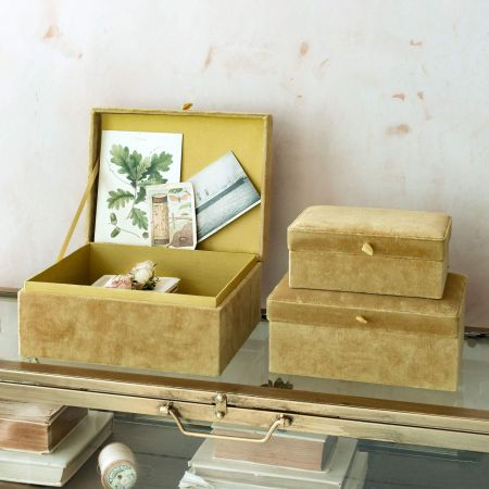 Set of Three Yellow Velvet Boxes
