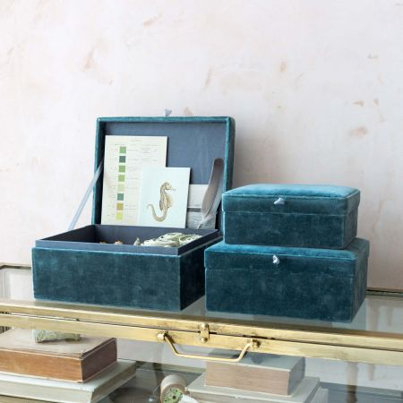 Set of Three Blue Velvet Boxes
