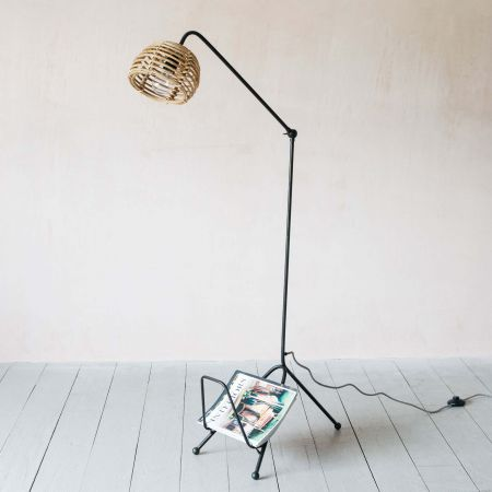 Cane Floor Lamp with Magazine Rack
