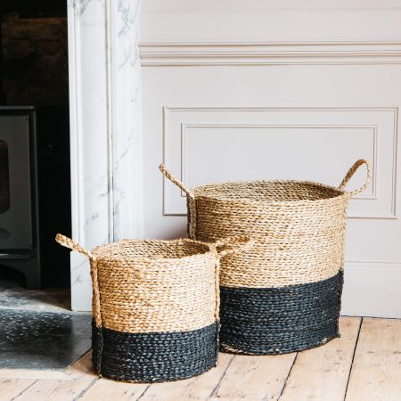 Set of Two Black Seagrass Baskets