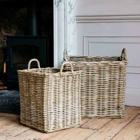 Set of Two Square Wicker Log Baskets
