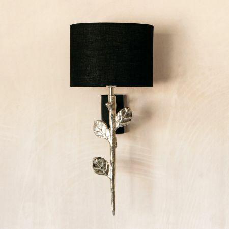 Tilia Silver Wall Light with Black Shade