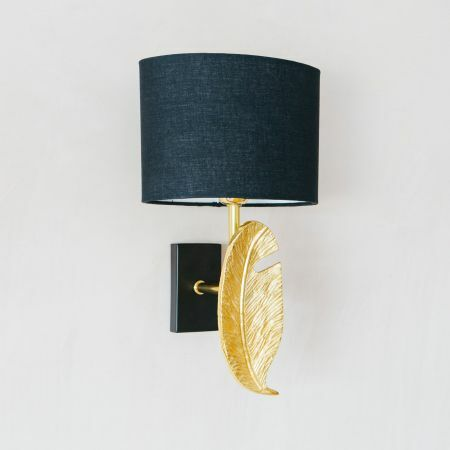 Gold Quill Wall Light with Shade