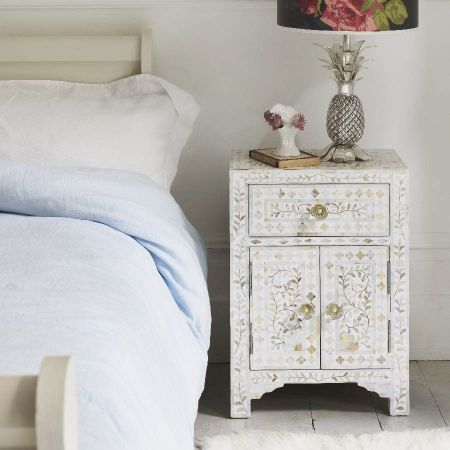 Classic White Mother of Pearl Bedside Table
