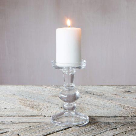 Clear Glass Ball Candlestick