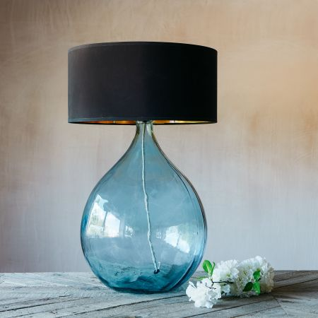 Extra Large Round Light Blue Glass Lamp