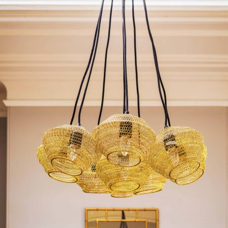 Delauney Brass Wire Mesh Pendant