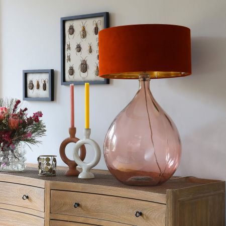 Extra Large Round Pink Glass Lamp
