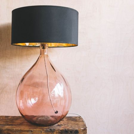 Extra Large Pink Round Glass Lamp