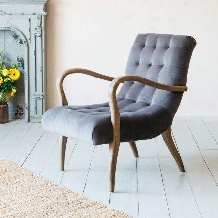 York Grey Velvet Armchair