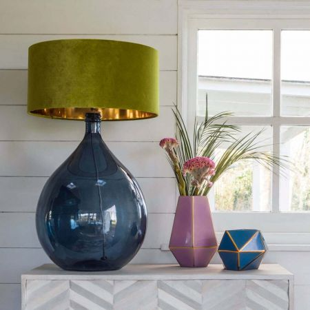 Round Glass Extra Large Blue Lamp
