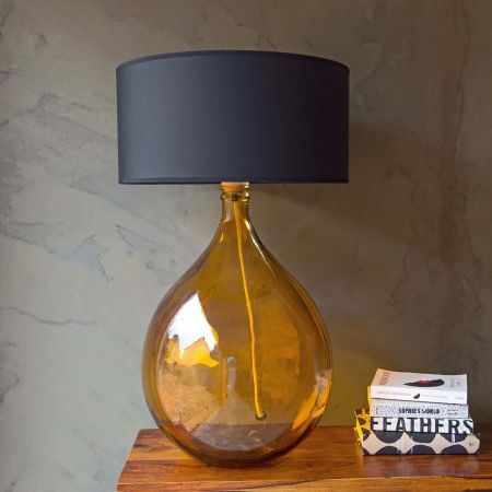 Extra Large Round Amber Glass Lamp