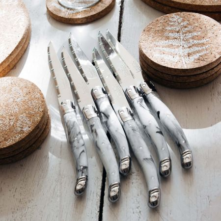Laguiole Set of Six Marble Steak Knives