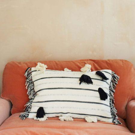 Metallic Striped Rectangular Cushion - Thumbnail