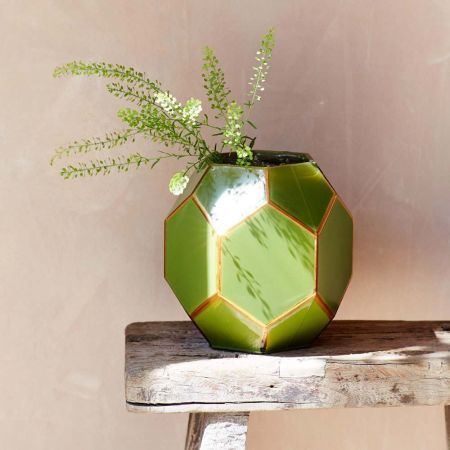 Green Geometric Vase