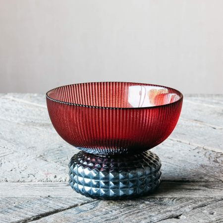 Red and Blue Ribbed Glass Bowl