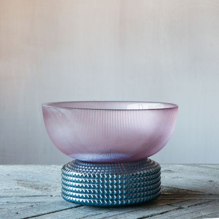 Blue and Purple Ribbed Glass Bowl