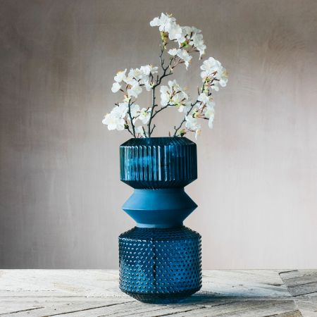 Blue Tiered Glass Vase
