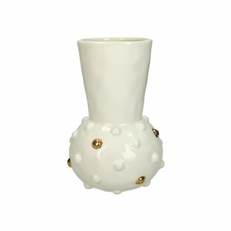 Gold and White Dot Funnel Vase