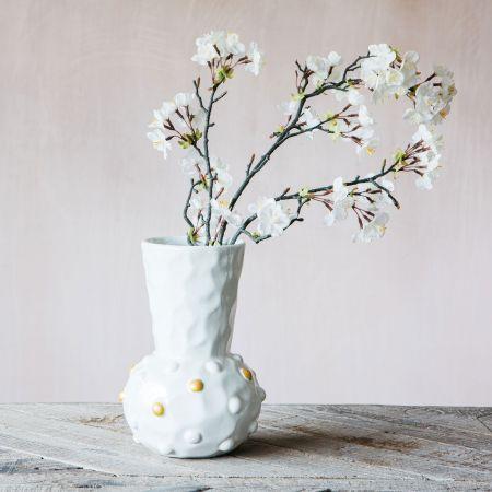 Gold and White Dot Funnel Vase
