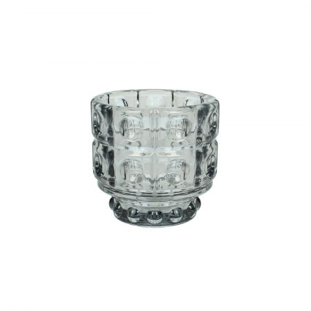Grey Bubble Glass Candle Holder