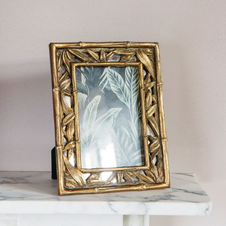 Gold Leaves Photo Frame