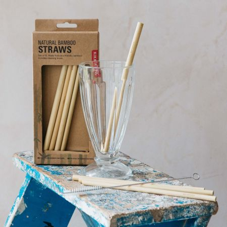 Set of Eight Natural Bamboo Straws