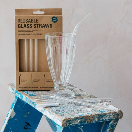 Set of Six Glass Straws