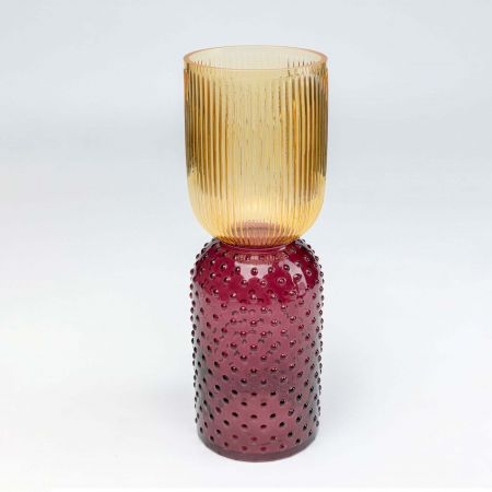 Yellow and Purple Glass Vase