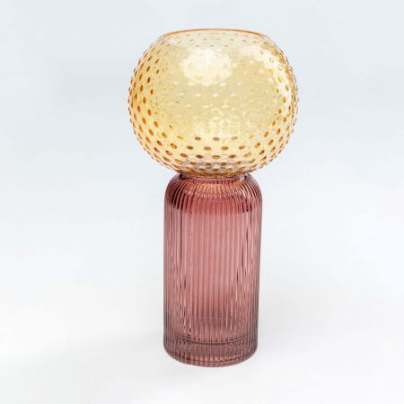 Yellow and Mauve Glass Vase