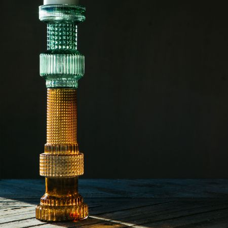 Green and Brown Glass Candle Holder