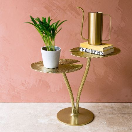 Golden Water Lily Leaf Table