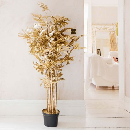 Gold Faux Lady Palm Plant
