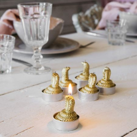 Set of Six Gold Cobra Tea Lights