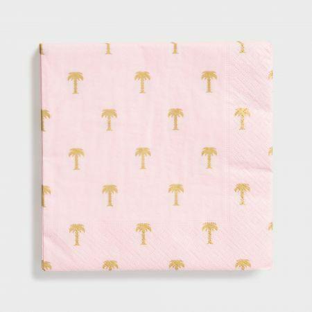 Pack of Twenty Pink Palm Tree Napkins