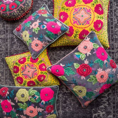 Medium Floral Embroidered Velvet Cushion