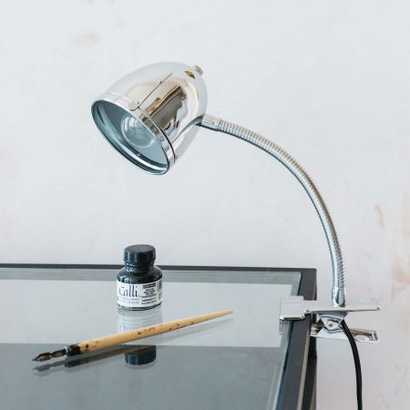 Chrome Clip Desk Light