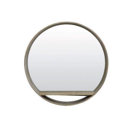 Aya Round Wooden Mirror